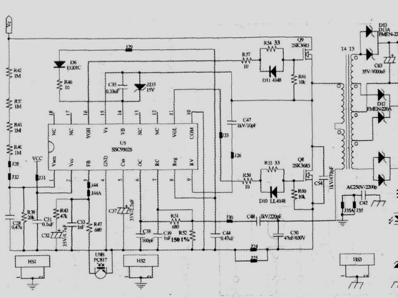 液晶电视电源芯片ssc99025应用电路图例与脚位定义在数参数